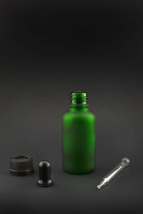 30 ml green frosted glass